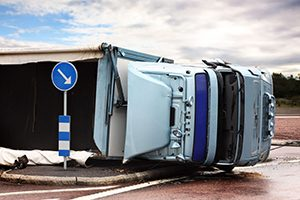 Overturned Truck in Road