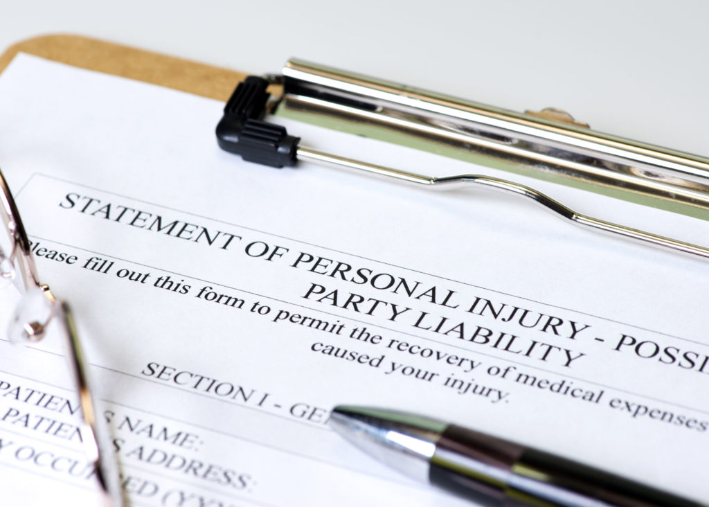Personal injury paperwork